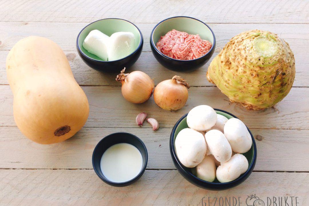 Pompoenschotel met verborgen champignons gezonde drukte gezond
