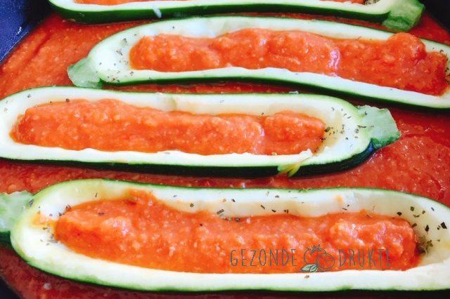 courgette gevuld vegetarisch gezond Gezonde Drukte