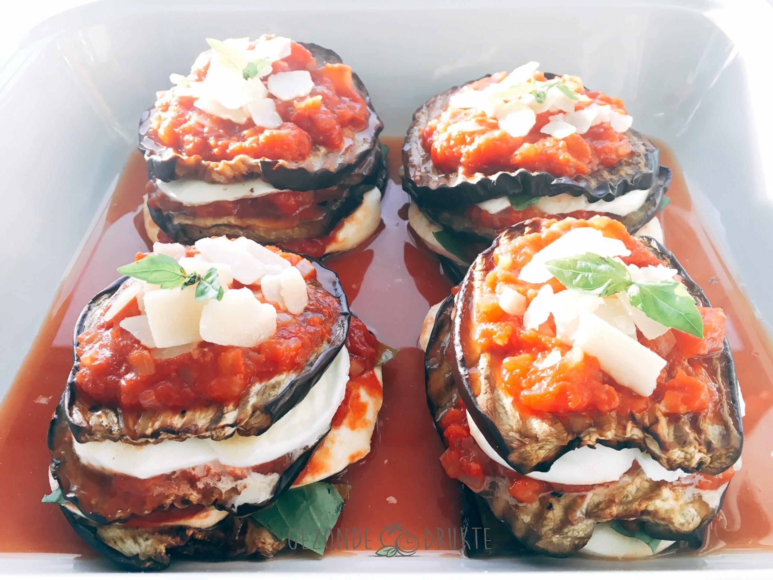 Aubergine parmigiana vegetarisch gezond gezonde drukte