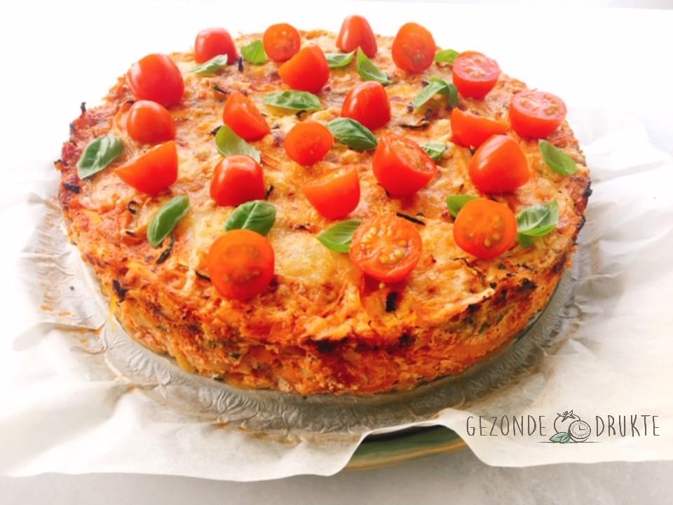 Courgetti spaghetti taart gezonde drukte gezond
