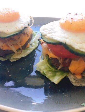 Zonnige hamburgers gezondedrukte gezond